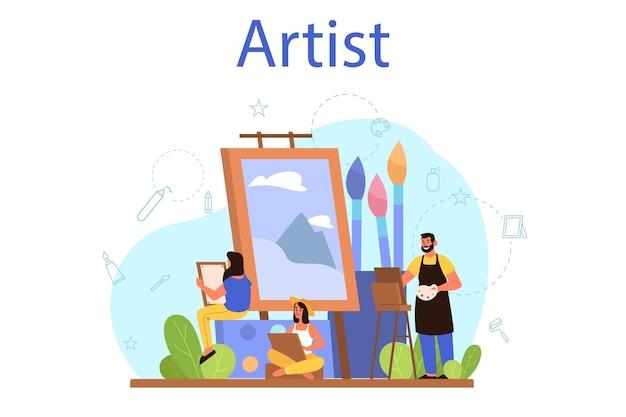 Иллюстрация концепции художника. идея творческих людей и профессии. художник мужского и женского пола, стоящий перед большим мольбертом, держа кисть и краски. изолированные плоские векторные иллюстрации Premium векторы