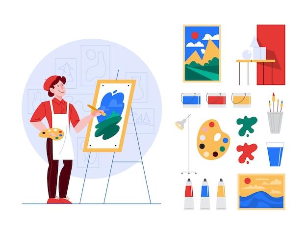 Набор иллюстраций концепции художника. идея творческих людей. художник-мужчина, стоя перед большим мольбертом, держа кисть и краски. кисти, масляные краски, набор произведений искусства Premium векторы