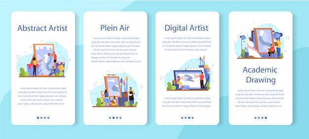 Набор баннеров для мобильных приложений artist concept. идея творческих людей и профессии. пленэр, цифровое искусство, академический и абстрактный рисунок. Premium векторы
