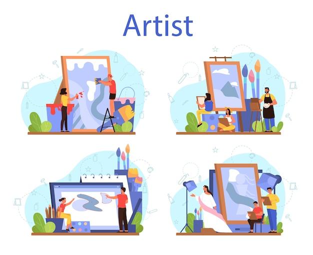 Набор художников концепции. идея творческих людей и профессии. художник мужского и женского пола, стоящий перед большим мольбертом или экраном, держа кисть и краски. Premium векторы