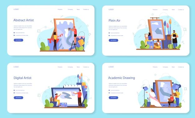 Набор художников концепции веб-баннера или целевой страницы. идея творческих людей и профессии. пленэр, цифровое искусство, академический и абстрактный рисунок. Premium векторы