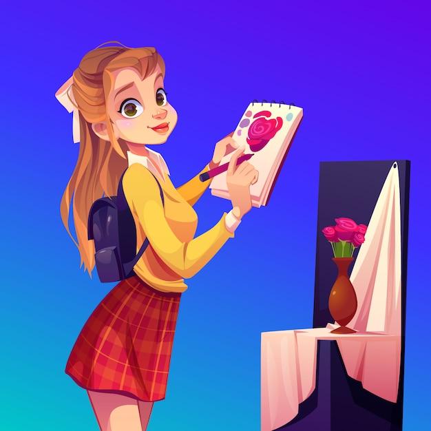 La pittura della ragazza dell'artista fiorisce in vaso, studio dell'officina Vettore gratuito