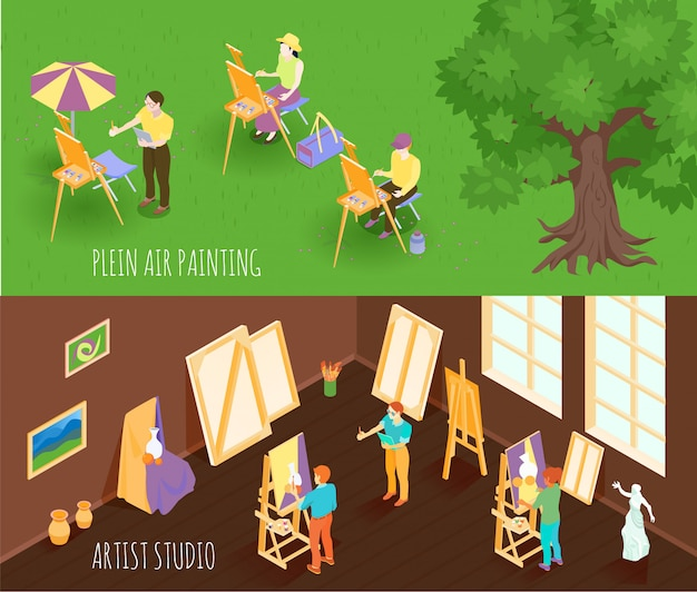Artist isometric banners Free Vector