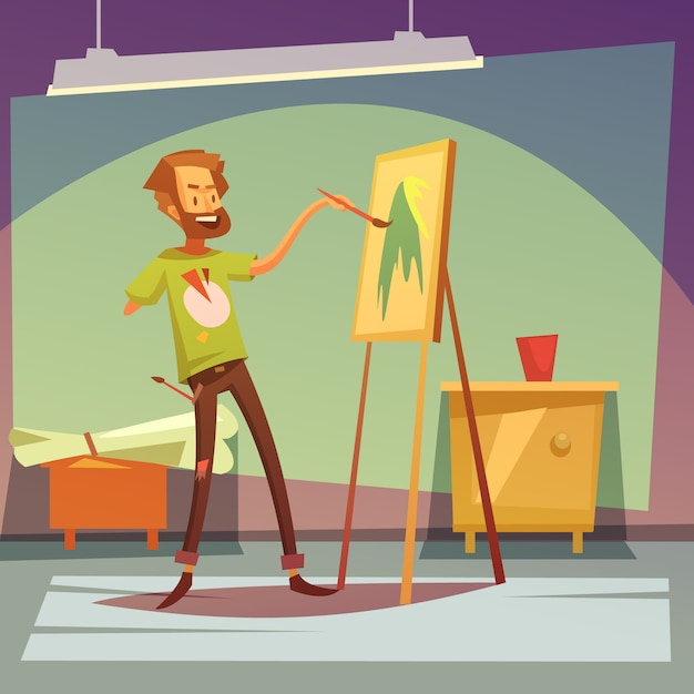 Artist painting without right hand Free Vector