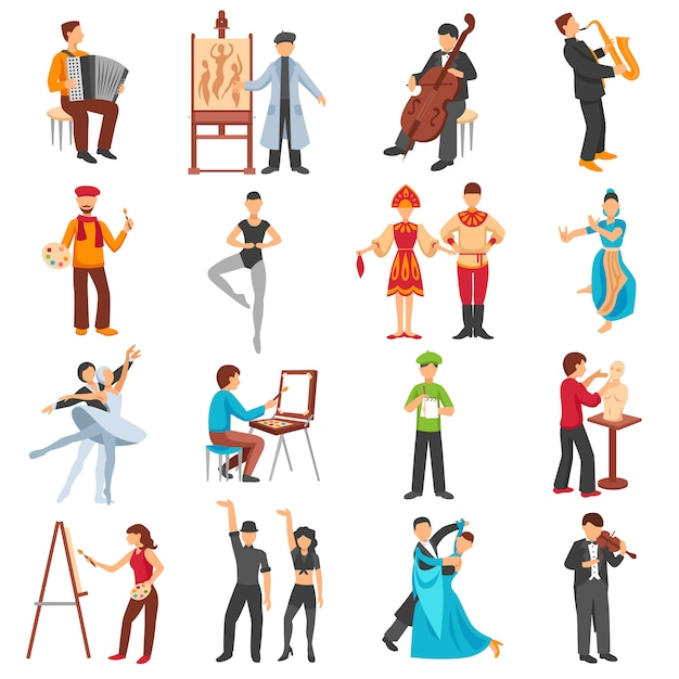 Artist people icons set Free Vector