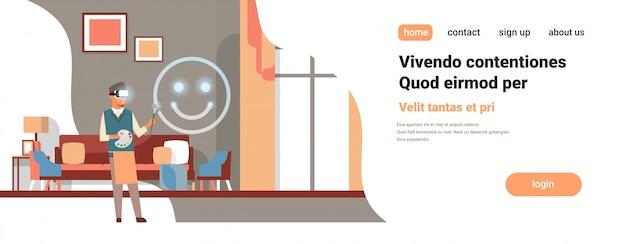 Artist wear digital glasses drawing virtual reality smile emoji vr vision headset innovation concept home interior Premium Vector