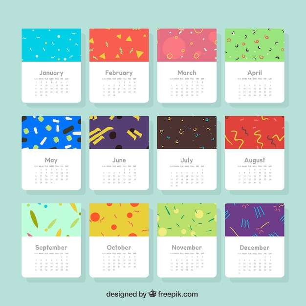 Calendar Artistic : Artistic calendar with shapes in memphis style vector