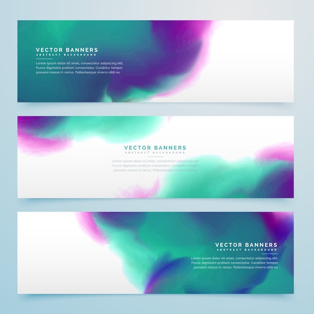 Artistic banners with watercolors Free Vector