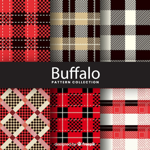 Artistic buffalo pattern collection Free Vector