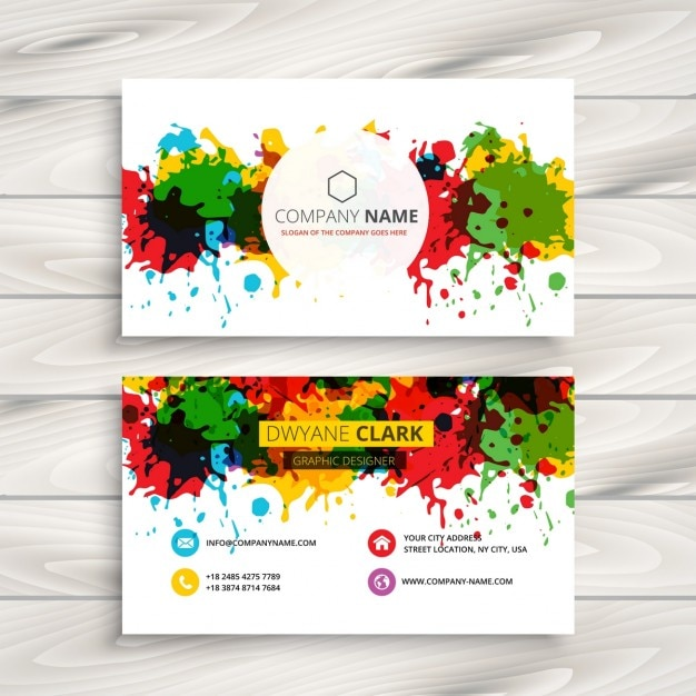 Artistic business card with colorful splashes vector free download artistic business card with colorful splashes free vector colourmoves
