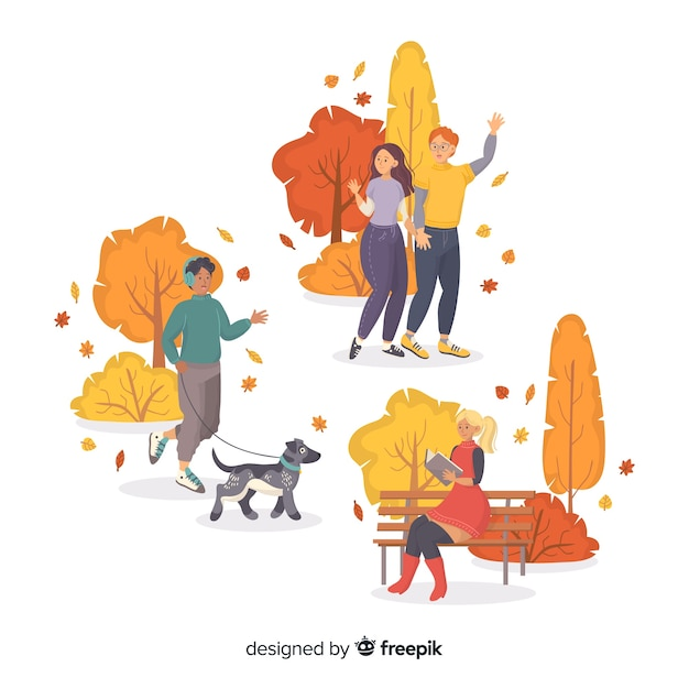 Artistic characters group autumn in park Free Vector