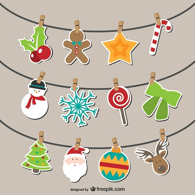 Artistic Christmas bunting Free Vector