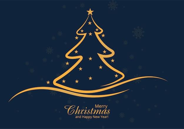 Artistic christmas line tree card design Free Vector