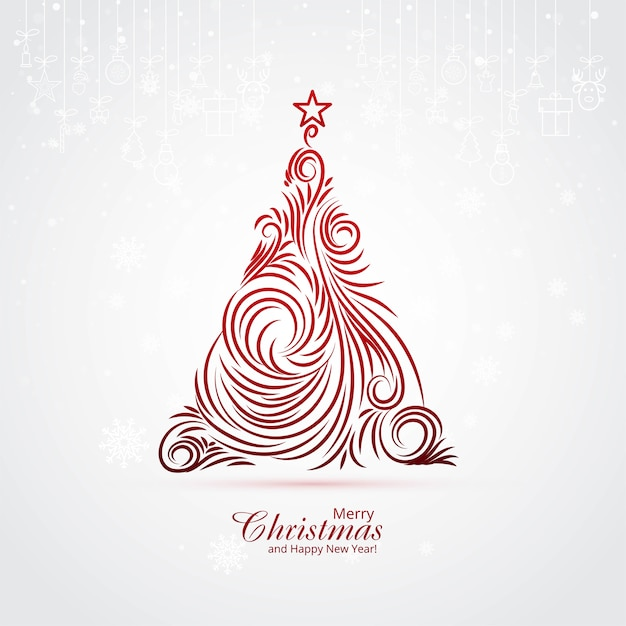 Artistic christmas tree card background Free Vector