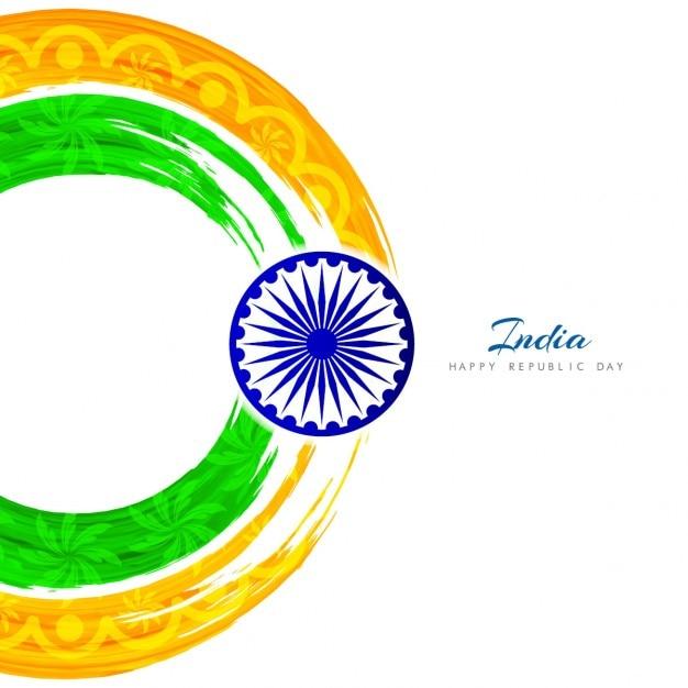 Artistic circular Indian flag design Free Vector