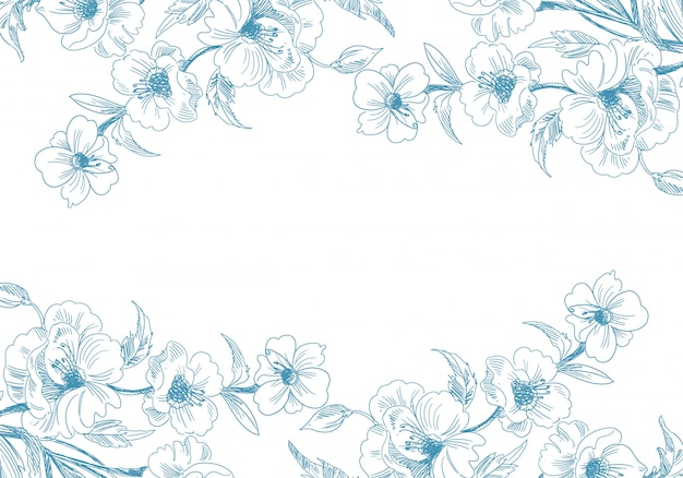 Художественный декоративный эскиз цветочный фон Бесплатные векторы