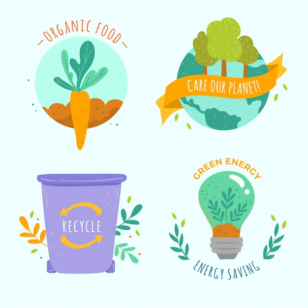 Artistic draw of ecology badge collection Free Vector