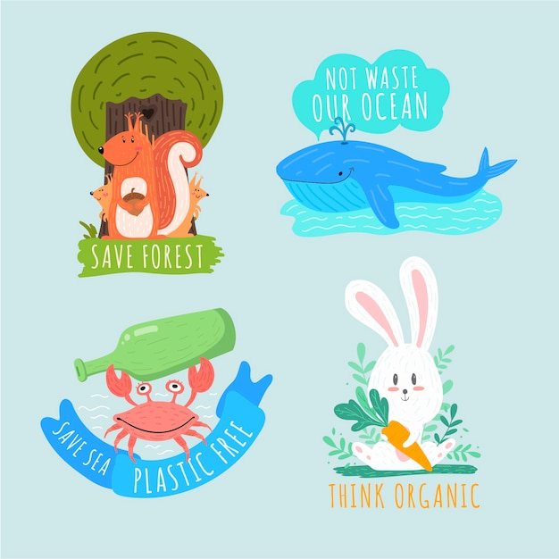 Artistic drawing of ecology badge collection Free Vector