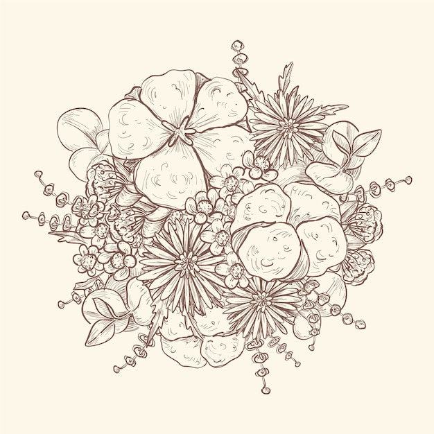 Artistic drawing of vintage bouquet Free Vector