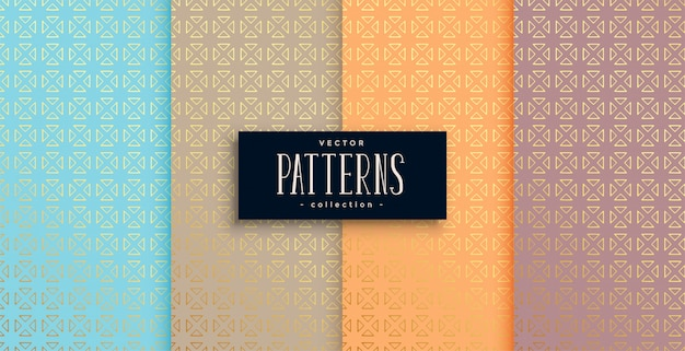 Artistic ethnic style patterns set of four Free Vector