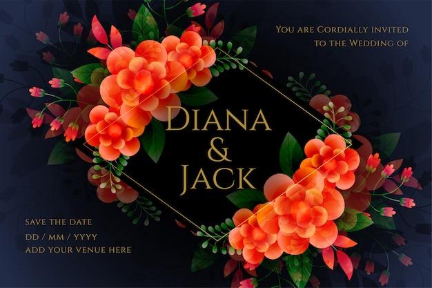 Artistic flower wedding card in dark theme Free Vector