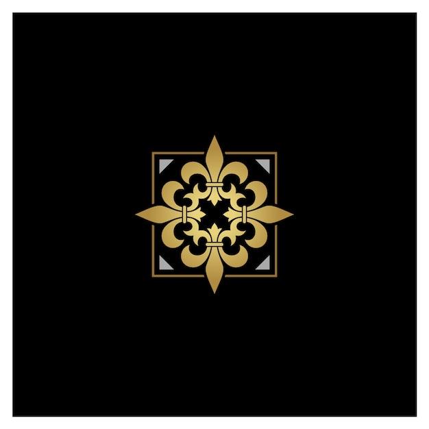 Artistic golden silver fleur de lisのロゴデザイン Premiumベクター