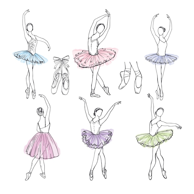 Artistic hand drawn pictures set of theatre theme. ballerinas dancing Premium Vector