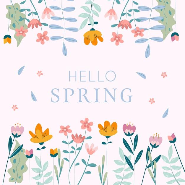 Artistic hello spring colorful design Free Vector