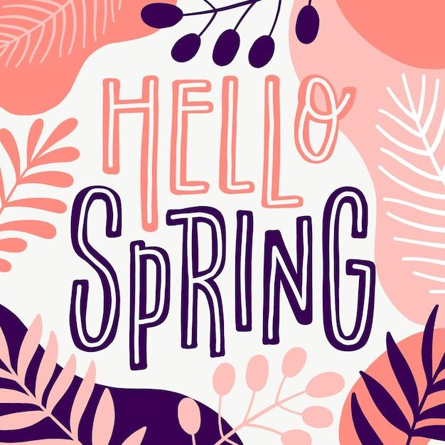 Художественная привет весна с листьями Бесплатные векторы