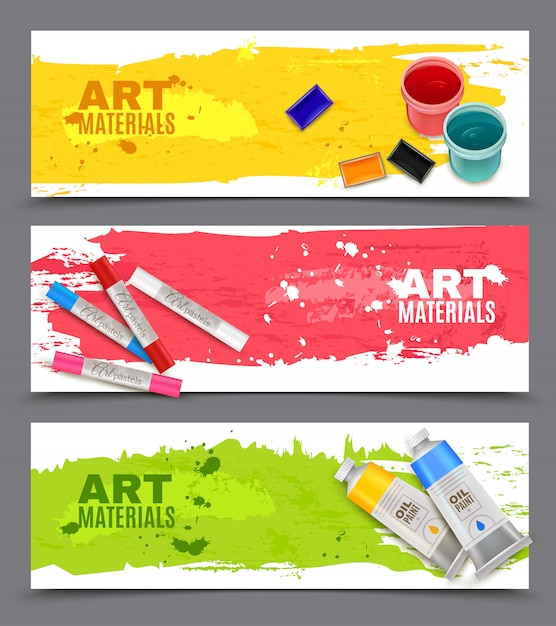 Artistic horizontal banners set Free Vector