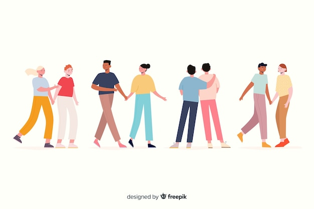 Artistic illustration with couples walking Free Vector