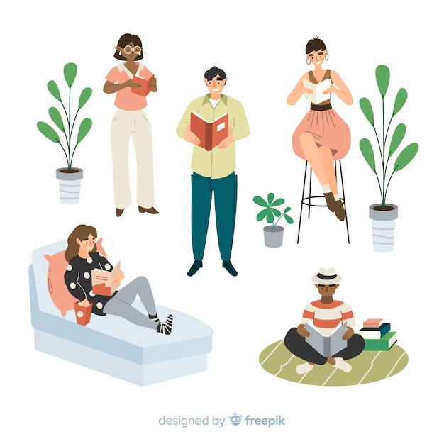 Artistic illustration with people lecturing Free Vector