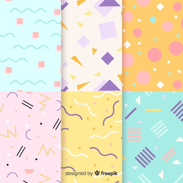 Artistic memphis pattern collection desing Free Vector