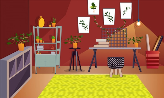 Artistic office or room interior. Vector   Premium Download
