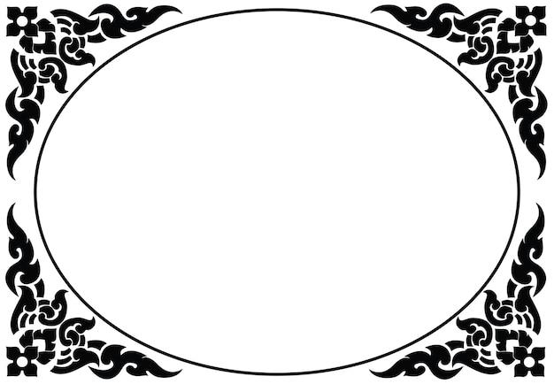 Artistic oval frame of thai pattern vector Premium Vector