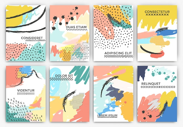 Artistic painted cards Free Vector