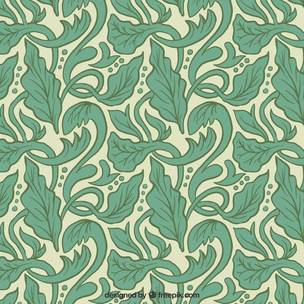 Artistic pattern with hand drawn leaves in art nouveau ...