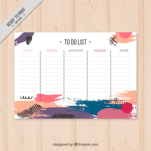 Artistic schedule with brush-strokes Free Vector