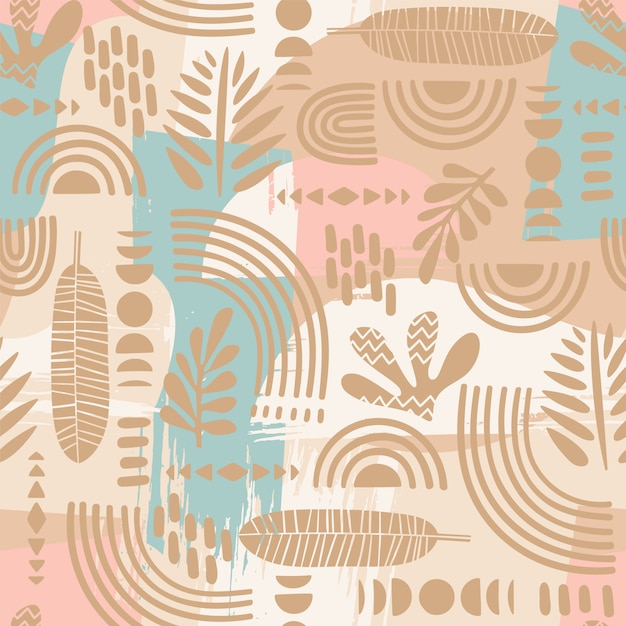 抽象的な葉と幾何学的形状の芸術的なシームレスパターン。 Premiumベクター