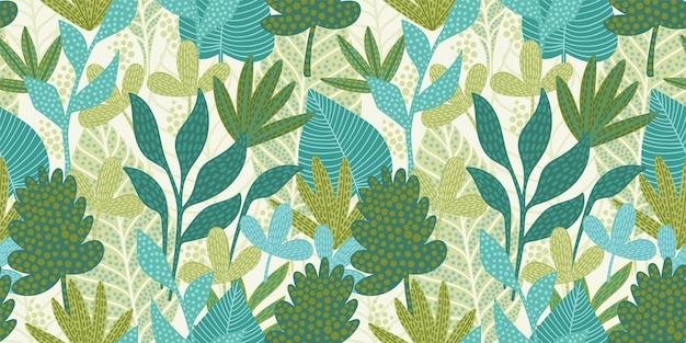 Художественный бесшовный образец с абстрактными листьями. современный дизайн для бумаги, обложки, ткани, декора интерьера и других пользователей. Premium векторы