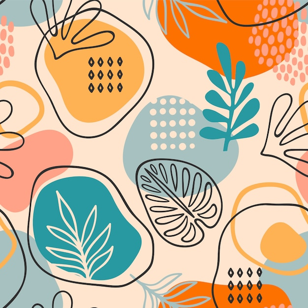 抽象的な葉を持つ芸術的なシームレスパターン。モダンなデザイン Premiumベクター