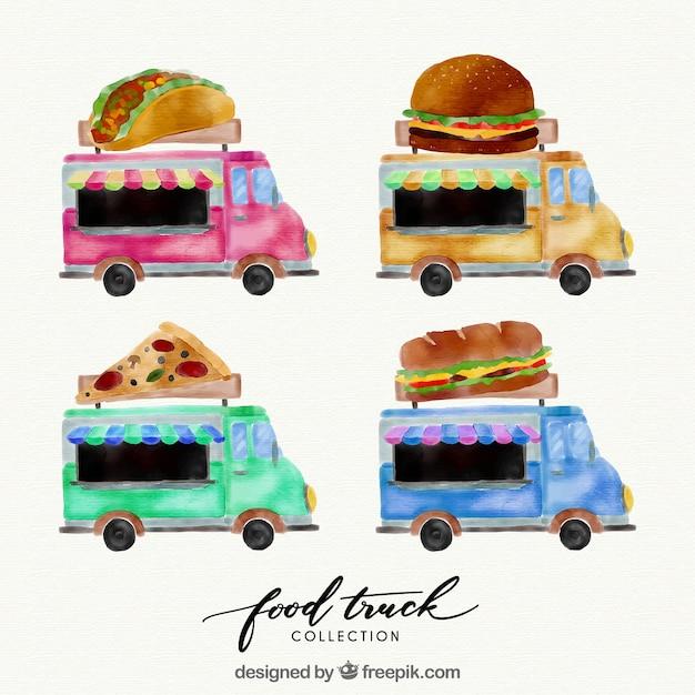 Artistic set of watercolor food trucks