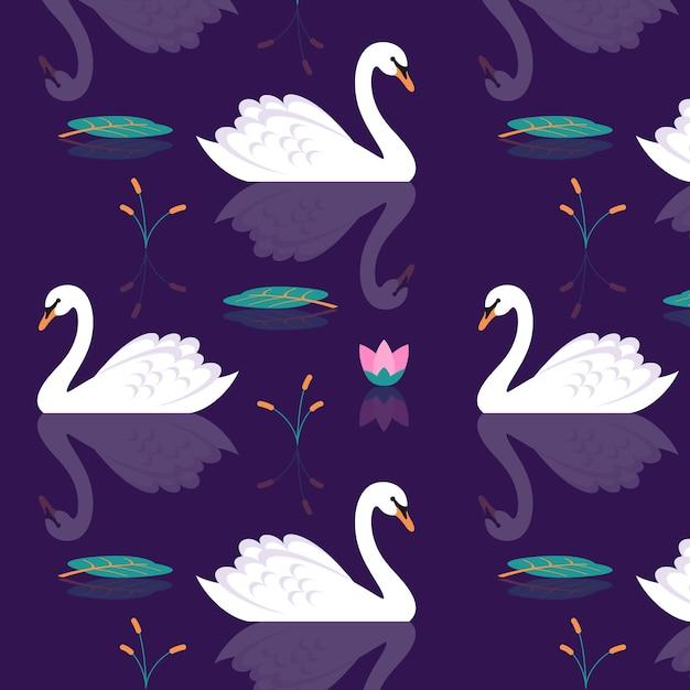 Artistic swan pattern Free Vector