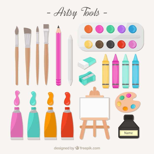 Artistic tools for painting Free Vector
