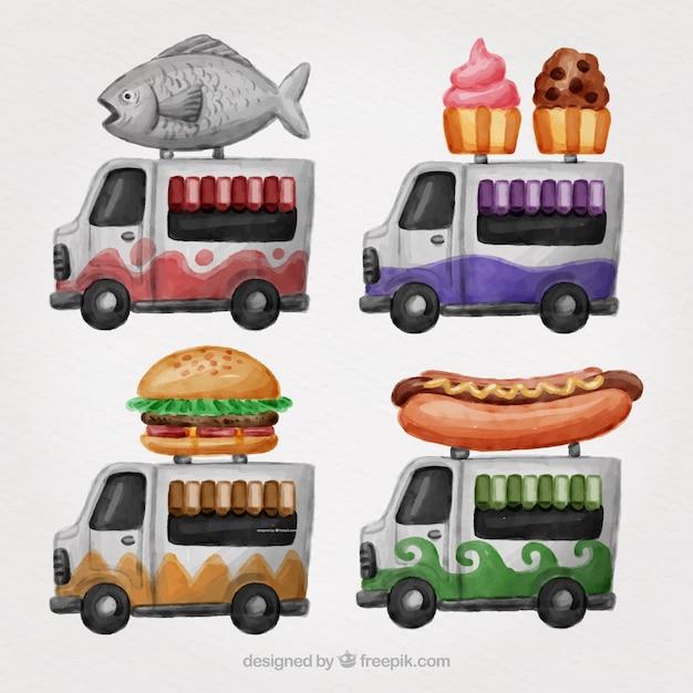 Artistic variety of watercolor food trucks