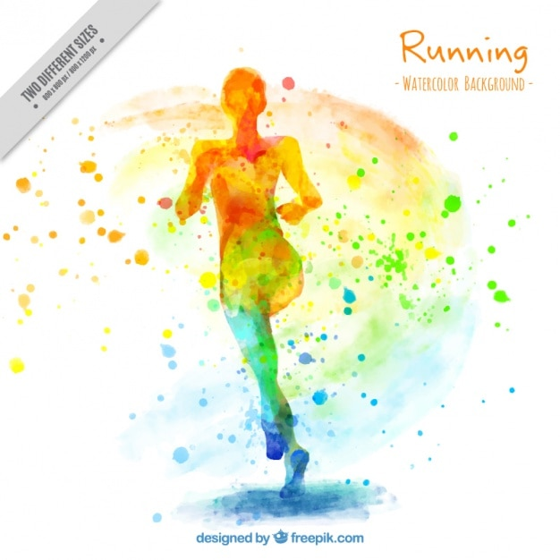Artistic watercolor background of woman running vector - Posters para gimnasios ...