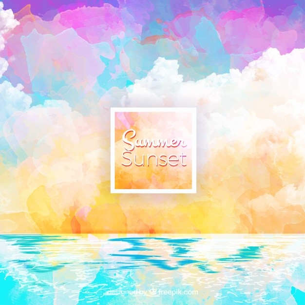 Artistic watercolor beach summer\ background