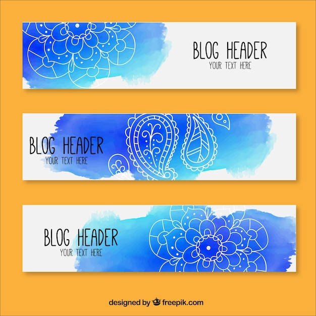 Artistic watercolor blog headers with hand-drawn floral details Free Vector