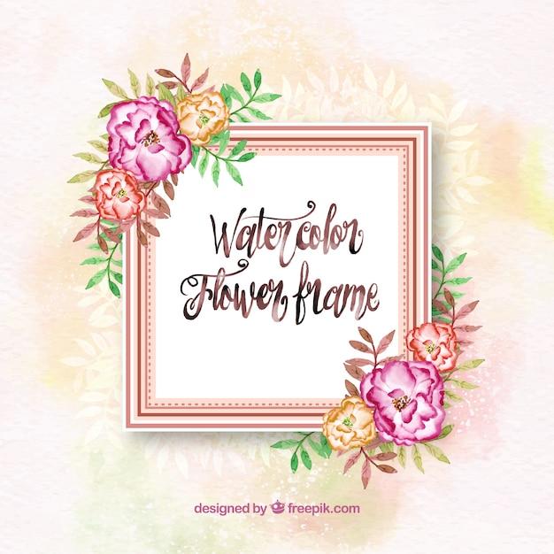 Artistic watercolor floral fame