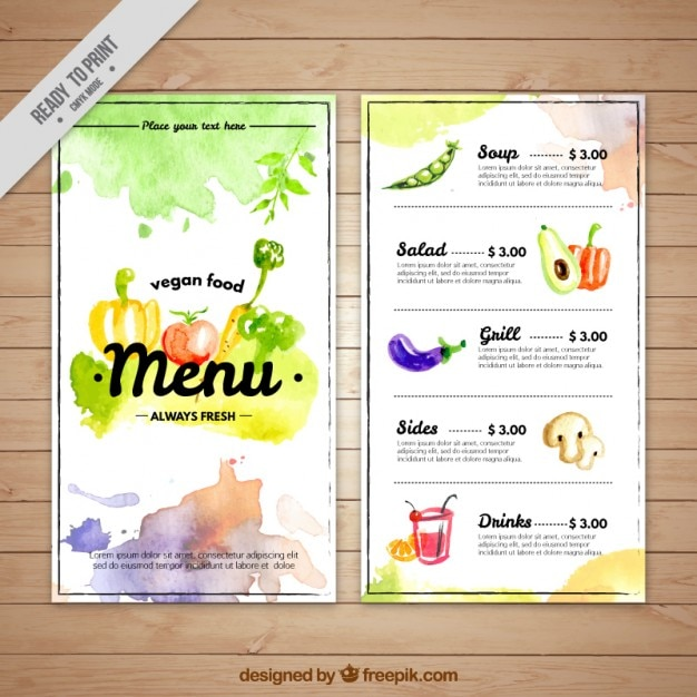 Artistic watercolor vegan menu template Free Vector